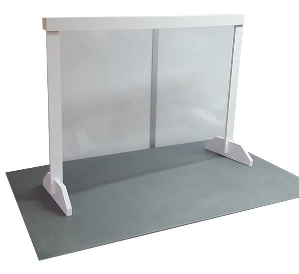 divisória móvel de proteção com suporte branco